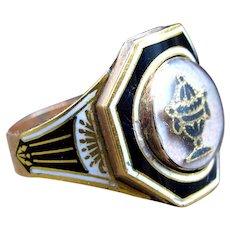*The Soul Keeper* Georgian Black and White Enamel Urn Mourning Memorial Ring In 15k