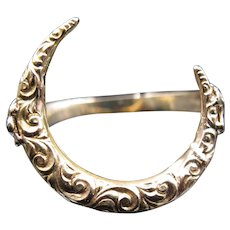 """Lunestri"" Victorian Solid 14k Yellow Gold Crescent Conversion Ring - Size 7"