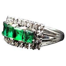 *Forest's Power* Emerald & Diamond 18K White Gold Ring