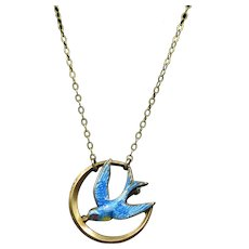 """Bluebird In The Night Sky"" 10k Yellow Gold Victorian Necklace With Pinback"