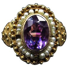 Victorian Amethyst with Pearls and Detailed Shoulders