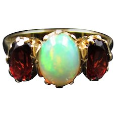 *Fire and Ice* Opal and Garnet Edwardian Ring, Birmingham c. 1905 (size 6.75)