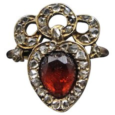*Flaming Heart* Garnet and Diamond Heart and Crown Victorian Conversion Ring (size 6.25)