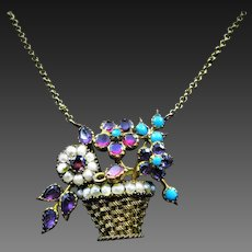 *Gift of Life* Necklace Pendant of Pearl Amethyst Turquoise and Ruby Flowers in 18k Gold Basket