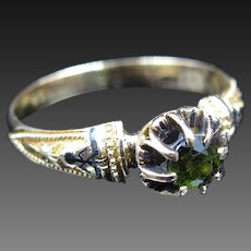"""Emma's Envy"" Inscribed Demantoid & Enamel Marked Gold Ring - Size 6.5"