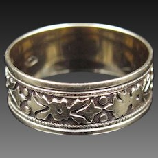 """Hollied Halls"" Holly-Patterned 14k Yellow Gold Band - Size 6.75"