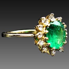 *The Mystique* Emerald & Diamond Halo Ring in 14k Gold