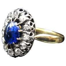 *Midnight Cove* Victorian French Sapphire & Diamond Ring in 18K Gold