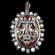 Stunning French Napolean III Era Signet Brooch/Pendant with Rose Cut Diamonds & Natural Pearls with the Letters M T