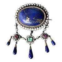"""""""Starry Night"""" Rare & Stunning French Early to Mid Victorian Silver Brooch w/Rubies, Emerald, Lapis Lazuli & Natural Pearls"""