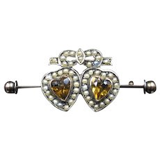 """""""Hearts Of Gold"""" Victorian Imperial Topaz & Pearl Brooch In 9ct Gold"""