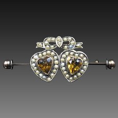 """Hearts Of Gold"" Victorian Imperial Topaz & Pearl Brooch In 9ct Gold"