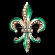"""The Lily of the Valley"" Victorian Fleur-de-lis Brooch & Pendant"