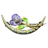 """""""Violet Night"""" 14k Yellow Gold & Enamel Crescent and Pansy Brooch"""