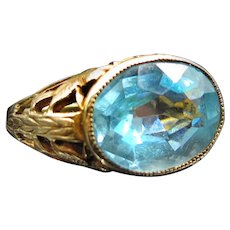 *Ocean Eyes* Art Deco Blue Topaz and 10k Gold East-West Ring (size 5.25)