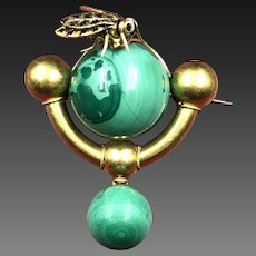 """Fly-Bye"" Superb Mid Victorian / Etruscan Revival Brooch Featuring Rich Malachite Spheres In 12k Gold with a Fly"