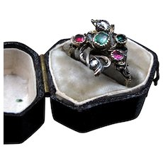 Giardinetti Emerald, Ruby, and Diamond Conversion Ring in Silver & 15K Gold Size 6