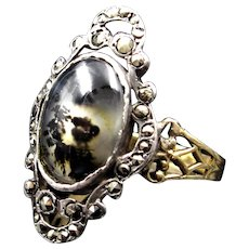 *Inkwell Roses* Antique French Moss Agat & Marcasite Ring in Silver & 18k Gold