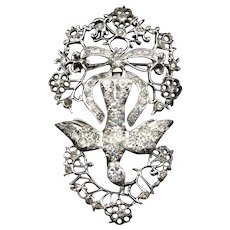 "Large and Exceptional Antique French ""St Saint Espirit"" Brooch in Silver"