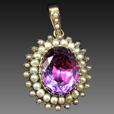 *Baroness's Allure* Antique Amethyst & Pearl Pendant in 9k Gold