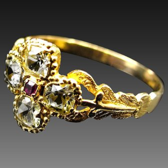 *Petals of Purity* Antique Chrysoberyl & Red Spinel Ring in 18k Gold