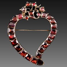 *The Witch's Heart* Antique Georgian c.1790 Giardinetti Cornucopia Garnet Brooch in 15K Gold