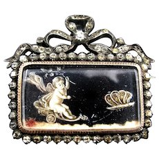 *Cupid's Ride* Antique French Napoleon 1 c.1810 Brooch in 9k Gold & Silver