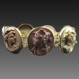 *Lava Ladies* 19th Century English Lava Cameo Bracelet in 6Ct Gold
