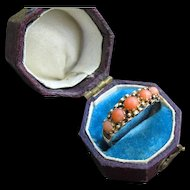 *Sea Garden* Victorian Five Stone Coral Ring in 15k Gold