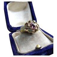 *Star Bright* Pink Tourmaline & Emerald 10k Gold Ring Size 4.75