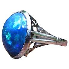 *Event Horizon* Stunning Black Opal & Platinum Art Deco Ring Size 5.25