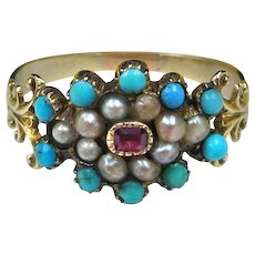 """""""Blue Danube""""  Antique Georgian Turquoise, Ruby & Natural Seed Pearls 12K Gold Ring c.1810-1830 (size 6.5)"""