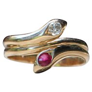 """""""A Lesssson In Romantics"""" 14k Yellow Gold Ruby & Diamond Intertwined Snake Ring - Size 6.5"""