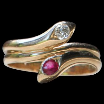 """A Lesssson In Romantics"" 14k Yellow Gold Ruby & Diamond Intertwined Snake Ring - Size 6.5"