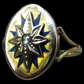 *North Star* Antique Victorian 18k Gold Ring with Diamond Size 5.5