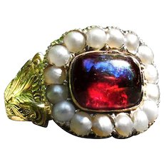 *Drop of Vitality* Antique Georgian 15k Gold Ring with Pearls & Garnet Size 7.75