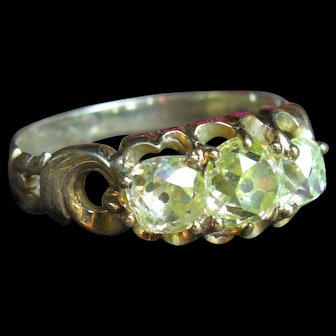 *Starry Starry Night* Outstanding Victorian Triple Yellow Diamond and 14k Gold Ring (size 6.75)