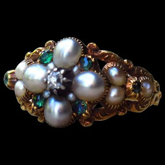 *Treasure of Flora* Antique Victorian Pearl Emerald and Diamond Flower Ring in 18k Gold