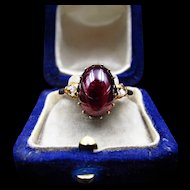 *Blood Dew* French Antique Victorian Cabachon Garnet & Diamond Ring in 18k Gold