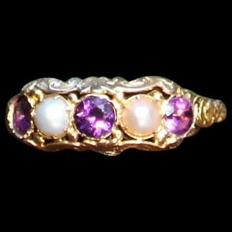 """Her Majesty's Treasure"" 15k Yellow Gold Victorian Pearl & Amethyst Band - Size 8.25"