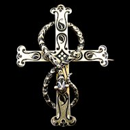 Stunning Post Georgian/Early Victorian Snake Entwined Cross w/Taille D'Epargne Enameling, 15K Gold, Inscribed Back Dated 1845