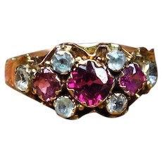 *Rose Waters* Victorian Pink Tourmaline and Aquamarine Ring in 9k Gold (size 7.75)