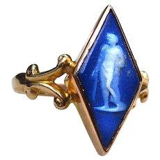 *Frozen Shard* Blue Porcelain Rhombus Ring in 9k Gold -- Fully Hallmarked
