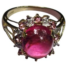 *Rhapsody in Pink* Pink Tourmaline Ring with Diamond Halo in 14k size 8