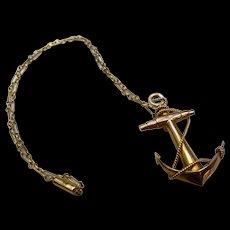 *Steadfast Sea* 9k Antique Gold Anchor Chain