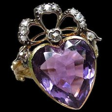 """""""Purple Royalty""""  Amethyst Heart-Shaped Victorian Up-cycled Ring with Rose Cut Diamond Crown Size 7.5"""