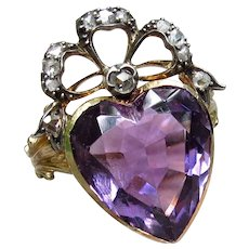 """Purple Royalty""  Amethyst Heart-Shaped Victorian Up-cycled Ring with Rose Cut Diamond Crown Size 7.5"