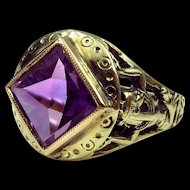 """Lovely Early 20th Century Egyptian Revival Ring With Goddess """"Nut"""" Shoulders & Amethyst Reverse Facet Stone (size 4.5-resizable)"""