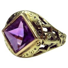 "Lovely Early 20th Century Egyptian Revival Ring With Goddess ""Nut"" Shoulders & Amethyst Reverse Facet Stone (size 4.5-resizable)"
