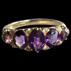 """Purple Rain"" Victorian Five Stone Graduated Siberian Amethyst & Diamond Ring will Make Your Heart Sing!  (size 5.75) circa 1850-60"